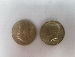Lot Of 2 - 1963 D Franklin And 1964 Kennedy Half Dollar, Two Value Coins On Sale