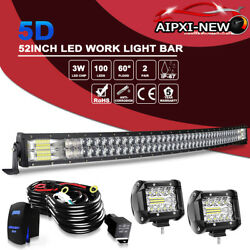 Curved 52inch 5d Led Light Bar Flood Spot Roof Driving Truck Rzr Suv Atv 50and039and039