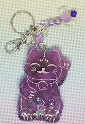 Purple Lucky Cat Keychain Purse Backpack Clip