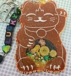Neon Orange And Black Lucky Cat Keychain Purse Backpack Clip