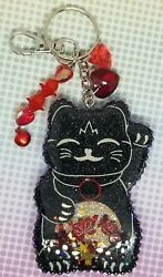 Black And Red Lucky Cat Keychain Purse Backpack Clip