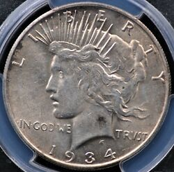 1934 S Peace Dollar Pcgs Au 58 Excellent Cellophanish Patina Over Nearly Unc