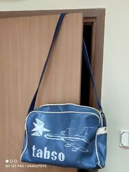 Vintage Travel Bag Tabso Carry On Airline Flight Airplane Former Bulgarian Air