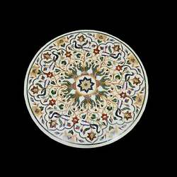 30'' White Marble Coffee Center Table Top Inlay Antique Mosaic Peacock Round Iu
