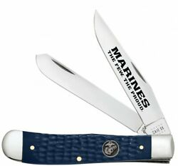 Case Xx Marines Usmc Trapper Knife Blue Synthetic Stainless 13195 Pocket Knives