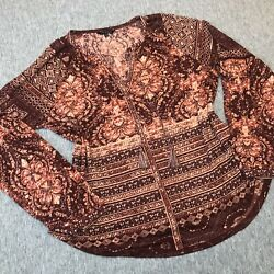 Lucky Brand Woman's Size Large Mix Print Peasant Geometric Top Long Sleeve