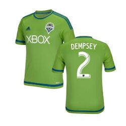 Clint Dempsey Green Adidas Jersey Adult Large Mls Soccer Nwt Seattle Sounders