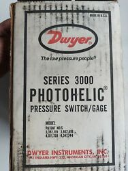 New Dwyer Series 3000 Photohelic Pressure Switch 25 Psg 0-10 Water A 3010 C