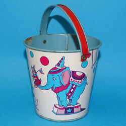 Vintage J. Chein Circus Sand Pail Tin Litho Performing Costumed Animals Elephant
