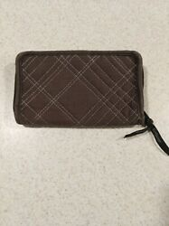 Thirty-one Brown Quilted Soft Wallet W/light Purple Interior Full Zip Euc