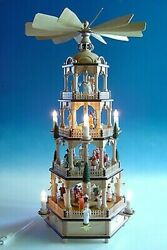 Large Christmas Pyramid In Natural With Coloured Figures Electric High Ca 70 C