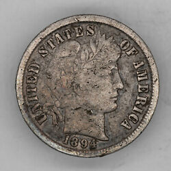 1894 Barber Dime 10c Silver Vf Very Fine Details 2748