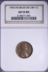 1955 Doubled Die Obverse Lincoln Wheat Cent Penny Ngc Au55 Free Shipping Rcbxt