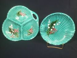 Majolica Lily Of The Valley Serving Trays Platters Set Of 2