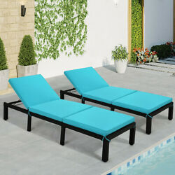 2pc Adjustable Rattan Wicker Chaise Lounger Chair Sunbed Outdoor Patio Furniture