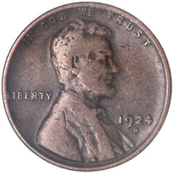 1924 D Lincoln Wheat Cent Fine Penny Fn See Pics J433