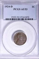 1924-d Lincoln Wheat Cent Penny Pcgs Au53 Free Shipping Acnm