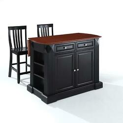 Crosley Coventry Drop Leaf Breakfast Bar Top Kitchen Island With 24 Stool
