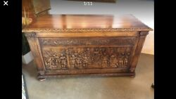 Antique Large Roman Style Hand Carved Wooden Chest