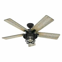 Hunter 54 Rustic Weathered Zinc Outdoor Damp Led Light Remote Ceiling Fan