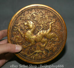 5.6 Old Chinese Purple Bronze 24k Gold Gilt Dynasty Flower Tiger Jewelry Box