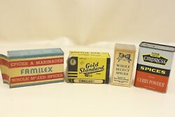 Vintage Spice Boxes And Tin Advertising Lot Can Kitchen Decor Spices Display M67