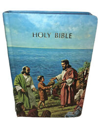 Vintage Nelson Young Readers Bible W/ Box Cloth Cover Limp Style Blue Edges