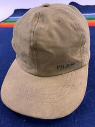 Cc Filson Waxed Canvas Hat Vintage Tin Cloth Lined Ear Flaps Hunting Fly Fishing