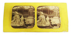 Sculpture At Crystal Palace Exhibition C1860s Hand Colored Tissue Stereoview