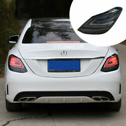Led Taillights Assembly For Benz C-class W205 14-20 Dark Turn Sequential Signal
