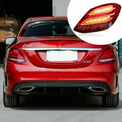Led Taillights Assembly For Benz C-class W205 14-20 Red Turn Sequential Signal