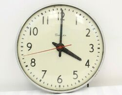 Vintage Simplex Glass Dome Industrial School Wall Clock Silver Rim Made In Usa