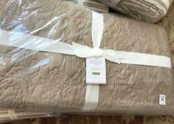 Pottery Barn Floral Stitch Quilt Set Neutral King 2 King Shams Taupe Tencel 3pc