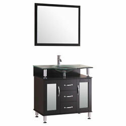 30 Vanity Cabinet With Sink Glass Top And Mirror Espresso By Lesscare