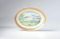 Antique Chinese Armorial Plate Porcelain Jiaqing Period China Landscape Fencai