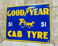 . Goodyear Cab Tyre Enamel Plate Vintage Porcelain Sign Size 10 X 8inch