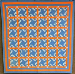 Vibrant Pa C 1930s Indiana Puzzle Quilt Vintage Cheddar Blue 4 Borders