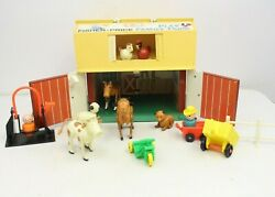 Vintage Fisher Price Little People Play Family Farm Barn Toy Lot Cow Sheep Dog