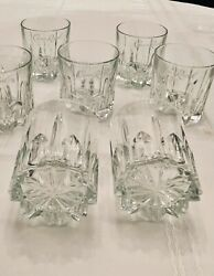 Set Of 8 Crown Royal Crystal Rocks Glasses Cut Star Bottom -crafted In Italy