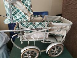 Vintage/ Antique Wicker Doll Stroller Carriage Cart Buggy By Mcfarlane Gendron