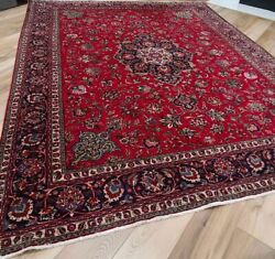 9x12 Antique Rug In Red And Indigo Circa 1920 Hand-knotted