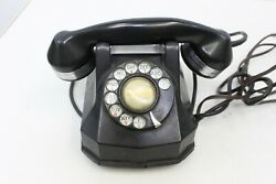 Vintage Art Deco Black And Chrome Ring Monophone Rotary Dial Telephone Black