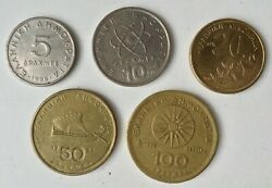 Five Different Greek Drachma Coins 5 10 20 50 100 1988-1992 From Circ.