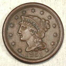 1851 Braided Hair Large Cent Almost Uncirculated High Grade Type Coin 0722-01