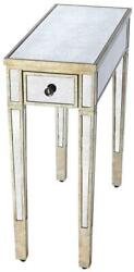Accent Table Vintage Tapered Legs Leg Distressed Antiqued Antique Pewter