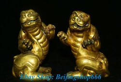 5 Antique Chinese Copper 24k Gold Gilt Feng Shui Animal Pixiu Beast Statue Pair