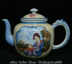 6.6 Marked Chinese Colour Enamels Porcelain Dragon Handle Human Kettle