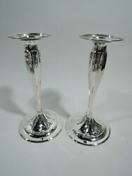 Candlesticks - 12221 - Antique Star Pair - American Sterling Silver