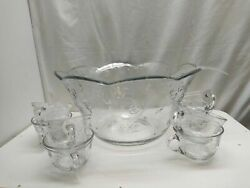 Anchor Hocking Savannah Punch Set 7qt Bowl 8 Cups, Rings And Ladle Party Server