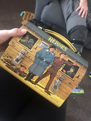 Vintage 1966 Hogan's Heroes Dome Lunch Box W/ Thermos Juy6-a